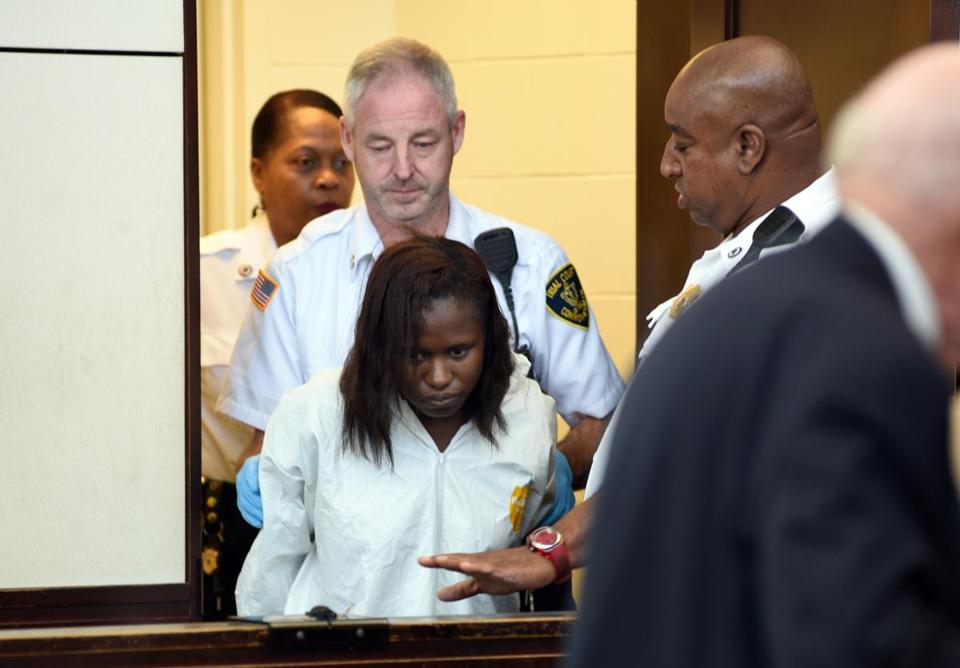 08homicide - (10/07/16 Roxbury, MA ) Karen Edwards appears in Roxbury District Court. She is being held without bail after allegedly stabbing her husband to death. October 07, 2016. (Faith Ninivaggi/POOL)