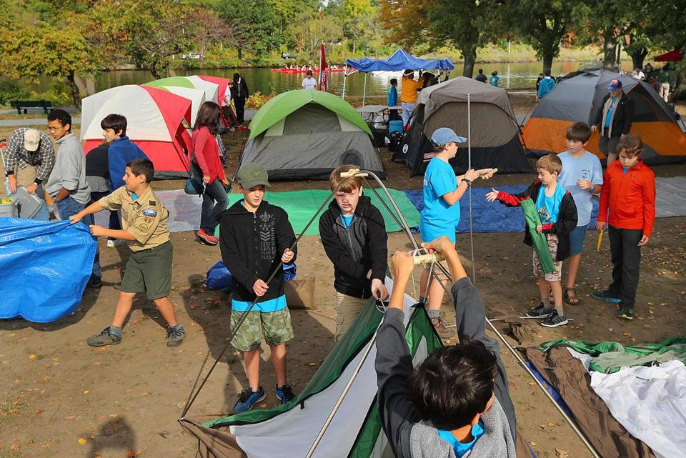 Boston-10/08/2016- SOAR 2016 the largest urban boyscout c&out & Thousands of scouts to camp out on the Charles - The Boston Globe