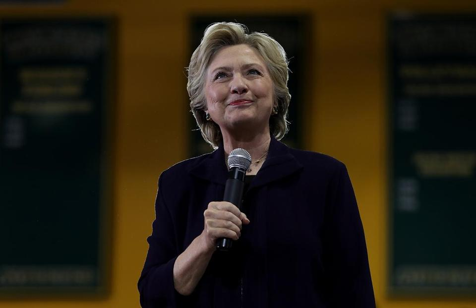 DETROIT, MI - OCTOBER 10: Democratic presidential nominee former Secretary of State Hillary Clinton speaks during a campaign rally at Wayne State University on October 10, 2016 in Detroit, Michigan. A day after the second presidential debate in St. Louis, Hillary Clinton is campaigning in Michigan and Ohio. (Photo by ) *** BESTPIX ***