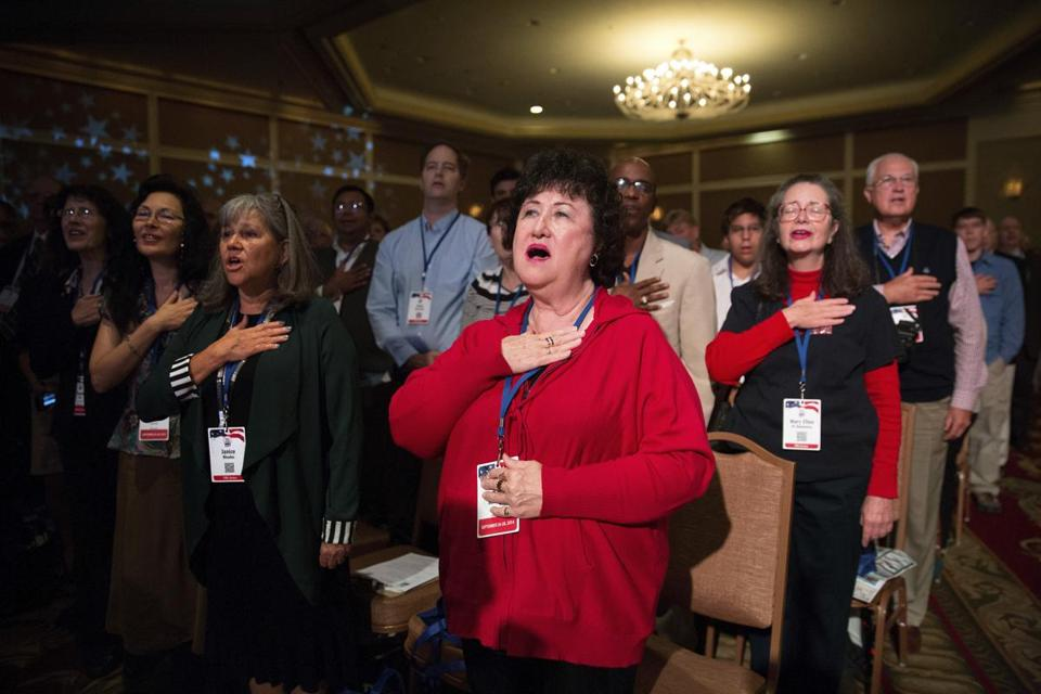 Attendees said the Pledge of Allegiance last month at the Values Voter Summit in Washington.