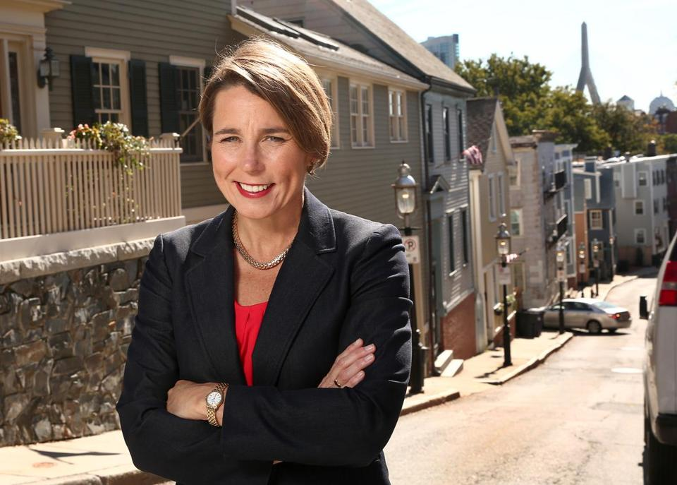 Boston, MA--10/12/2016-Attorney General Maura Healey (cq) is photographed in Charlestown, on Wednesday, October 12, 2016. (She took her first campaign picture here on Pleasant Street.) Photo by Pat Greenhouse/Globe StaffTopic: women-politics-HealeyReporter: Shirley Leung