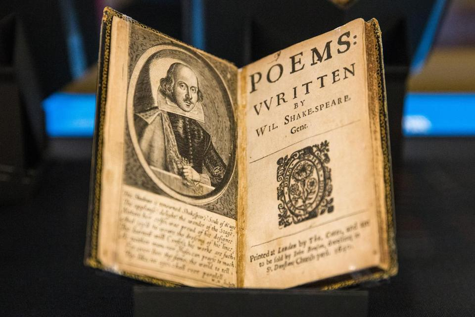 "10/12/2016 BOSTON, MA A 1640 copy of ""Poems Written by Wil. Shake-Speare, Gent."" (cq) on display at the Boston Public Library's Shakespearean exhibition. (Aram Boghosian for The Boston Globe)"