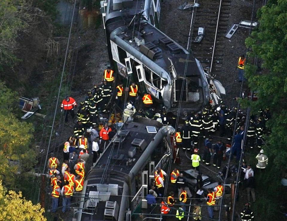 An MBTA train on the D branch of the Green Line smashed into another train in 2008.