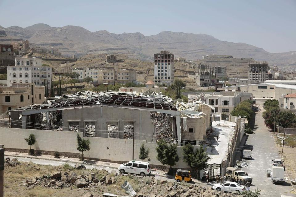 A funeral hall was destroyed in a Saudi-led airstrike in Sanaa, Yemen.