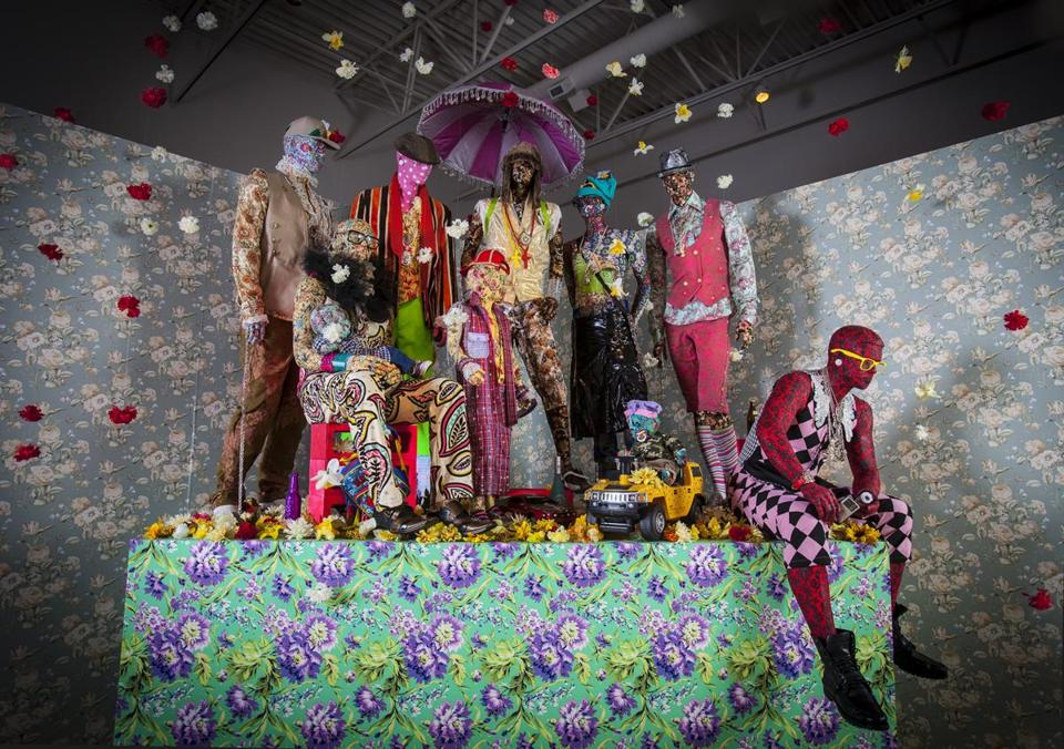 "Ebony G. Patterson's ""Swag Swag Krew,"" at Boston University's 808 Gallery."