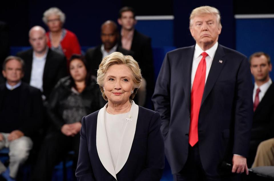 Hillary Clinton and Donald Trump at the second presidential debate in Missouri, a traditional Republican state.