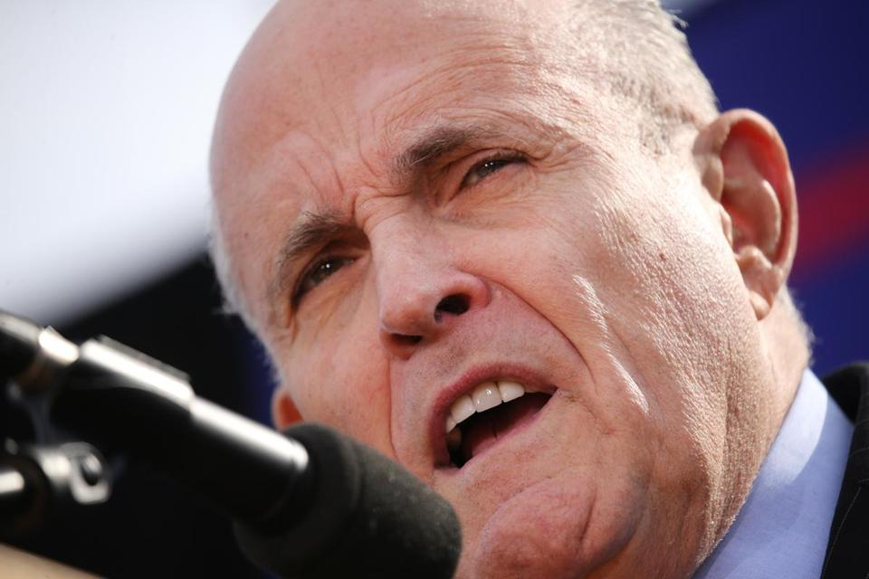 Former New York Mayor Rudy Giuliani spoke in Portsmouth, N.H., Saturday at a rally for Donald Trump.