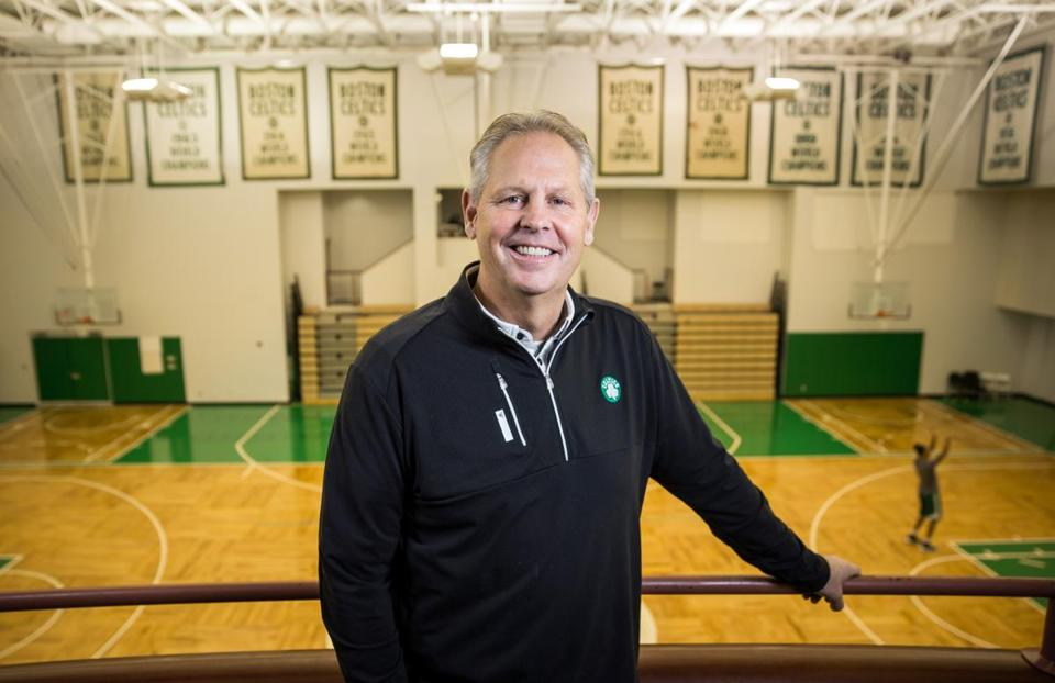 10/10/2016 WALTHAM, MA General Manager of the Boston Celtics Danny Ainge (cq) poses for a photo at the team's practice facility in Waltham. (Aram Boghosian for The Boston Globe)