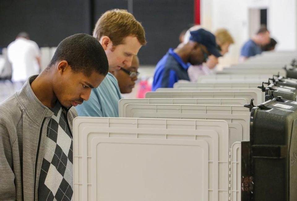 Residents voted on Monday at a recreation center in Tucker, Ga. It was the first day of early voting in the state.