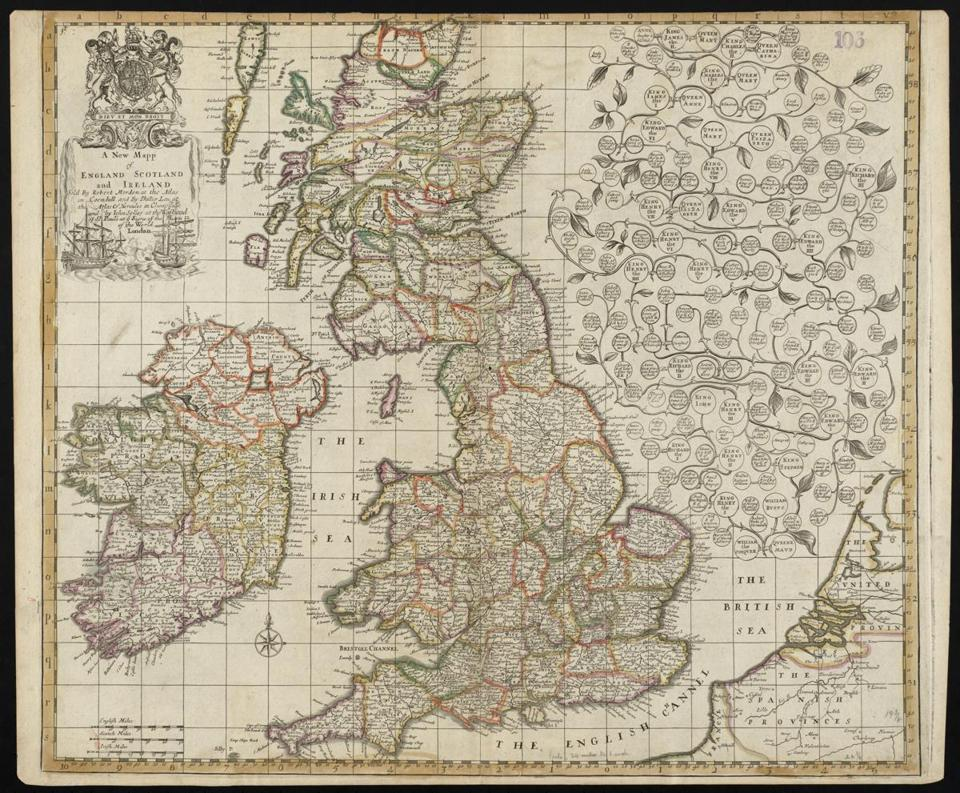 Robert Morden's 1687 view of England, Scotland, and Ireland.