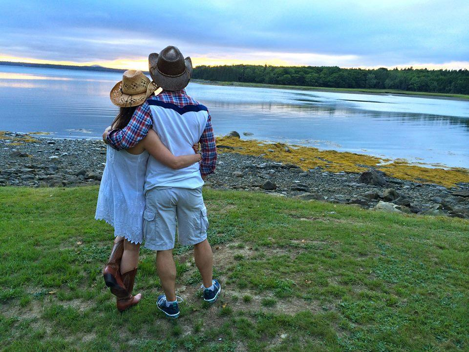 Levis and DeMarco on the night of their wedding rehearsal dinner in Bar Harbor, Maine.