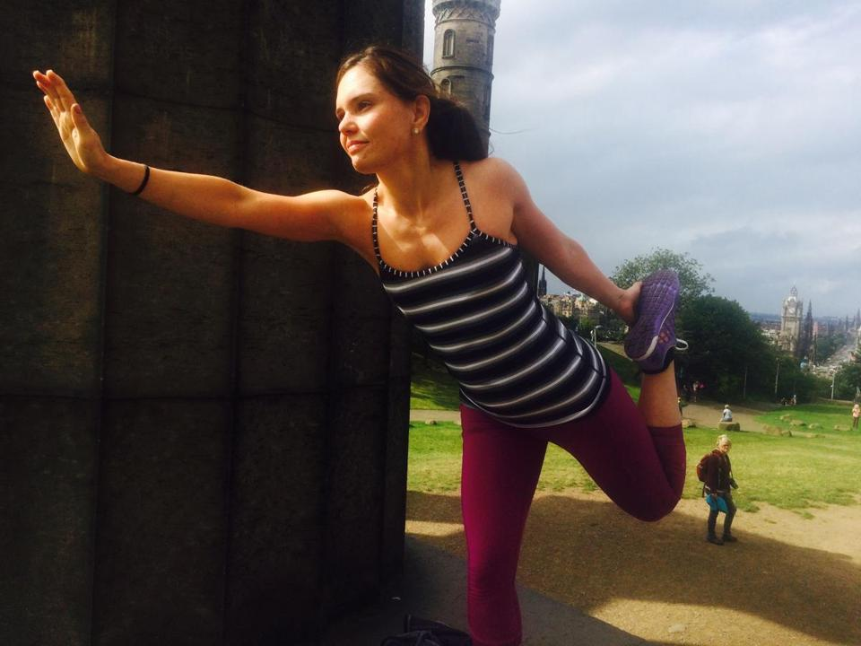 19levis - Laura Levis in a yoga pose in August 2015 in Edinburgh, Scotland. (Handout)