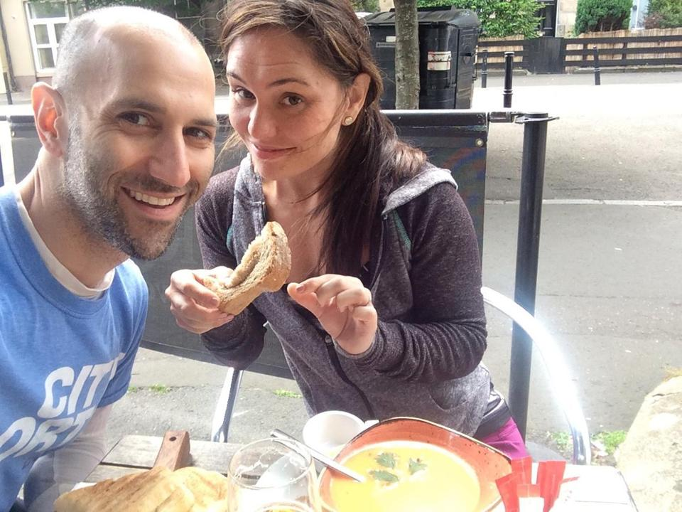 Peter DeMarco and Laura Levis at a cafe in Scotland in 2015.
