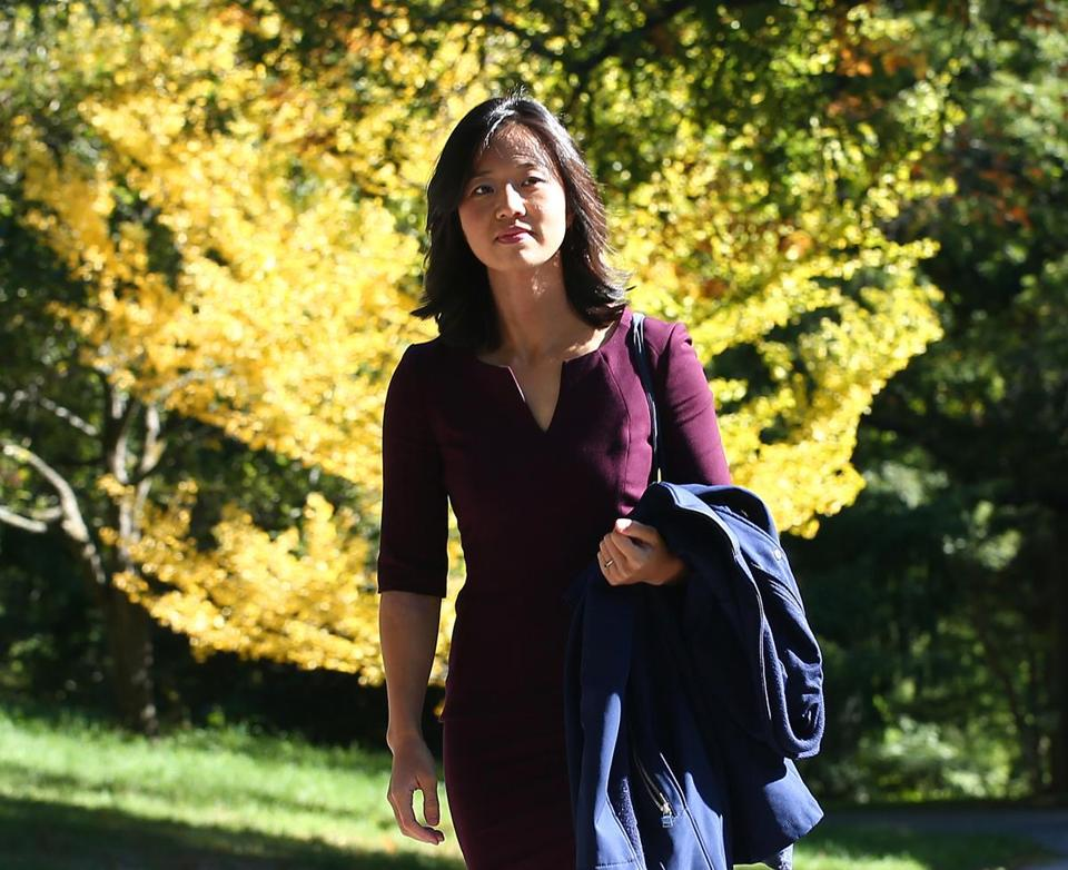 Boston, MA--10/11/2016--Michelle Wu (cq) is Boston City Council president. She is photographed on the Roslindale side of the Arnold Arboretum, on Tuesday, October 11, 2016. Photo by Pat Greenhouse/Globe Staff Topic: women-politics-Wu Reporter: Shirley Leung