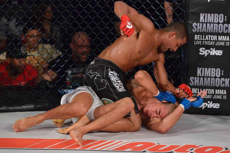 "Jordan Parsons' fight against Julio Cesar Neves Jr. which took place on May 15, 2015 at the ""Bellator 137 Halsey vs. Grove"" event at the Pechanga Resort and Casino in Temecula, CA. (Bellator MMA)"