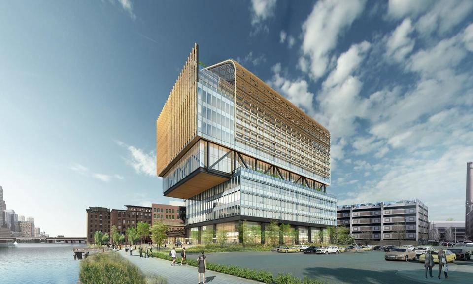 02GEbuilding - Rendering of new headquarters General Electric plans to build along Fort Point Channel. (Gensler Architecture)