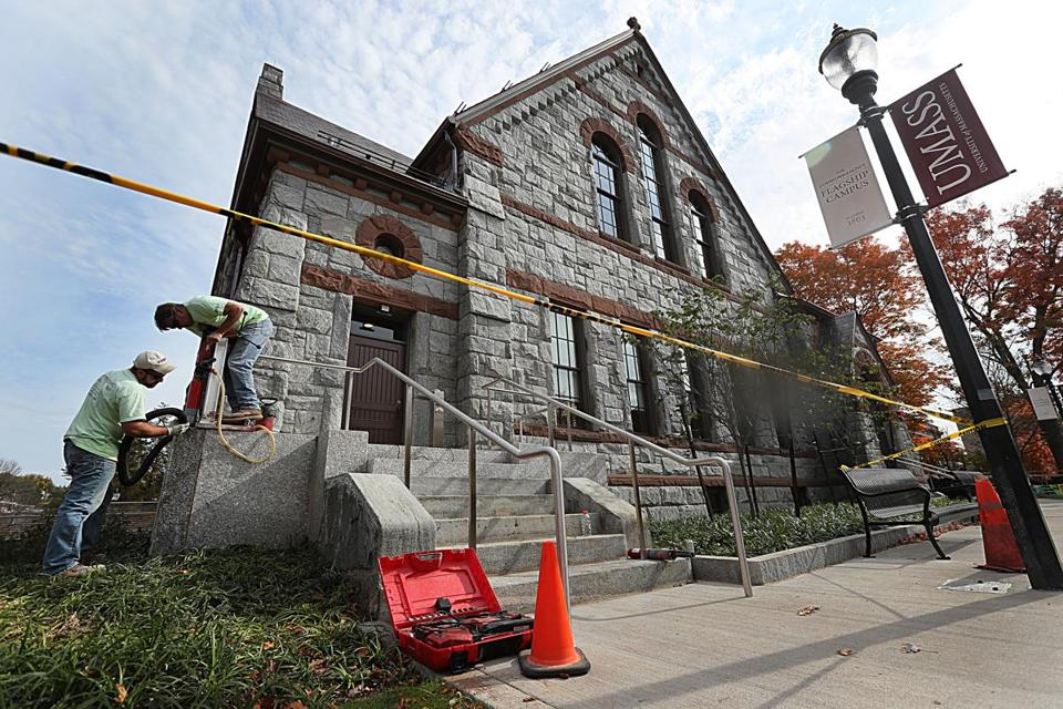 Amherst , MA., 10/21/16, The finishing touches are going up on the historic chapel. The historic Old Chapel at UMass Amherst reopens this fall after being closed for nearly 20 years because of safety concerns. Globe staff/Suzanne Krater