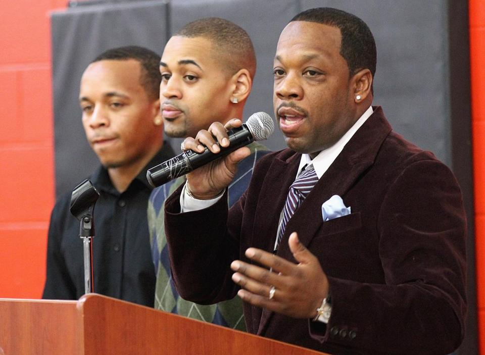 Michael Bivins (right) spoke at the sixth annual Martin Luther King breakfast at the Roxbury YMCA in 2014.