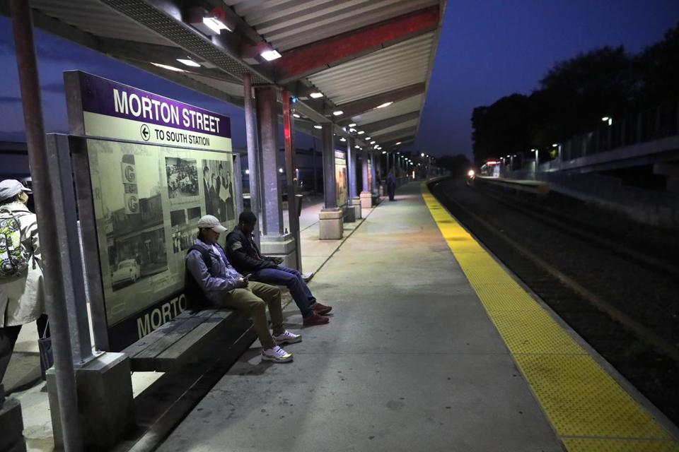 The Fairmount Line is the only commuter rail line operating entirely within Boston. Above: Passengers waited for a train at the Morton Street stop.