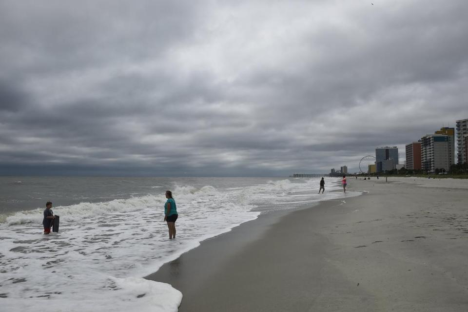 People Walked Along Myrtle Beach Ahead Of Hurricane Matthew Earlier This Month