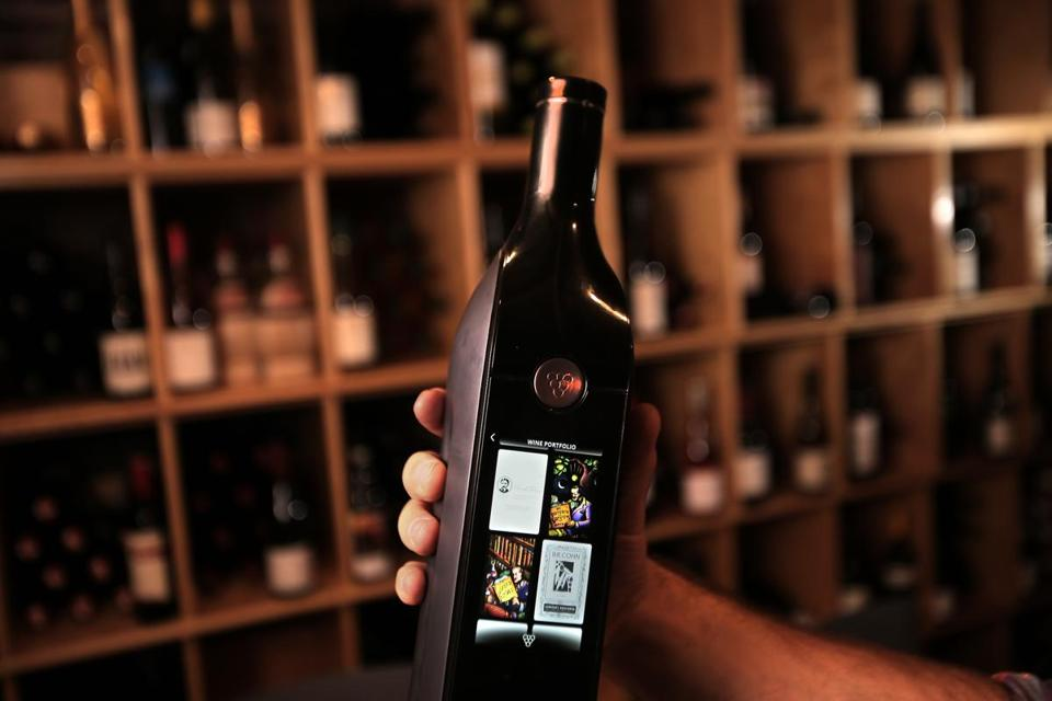 The Kuvée system includes a digital display instead of a paper label, a special valve that keeps oxygen away from the wine, and a Wi-Fi connection that allows you to reorder a vintage with a quick touch.