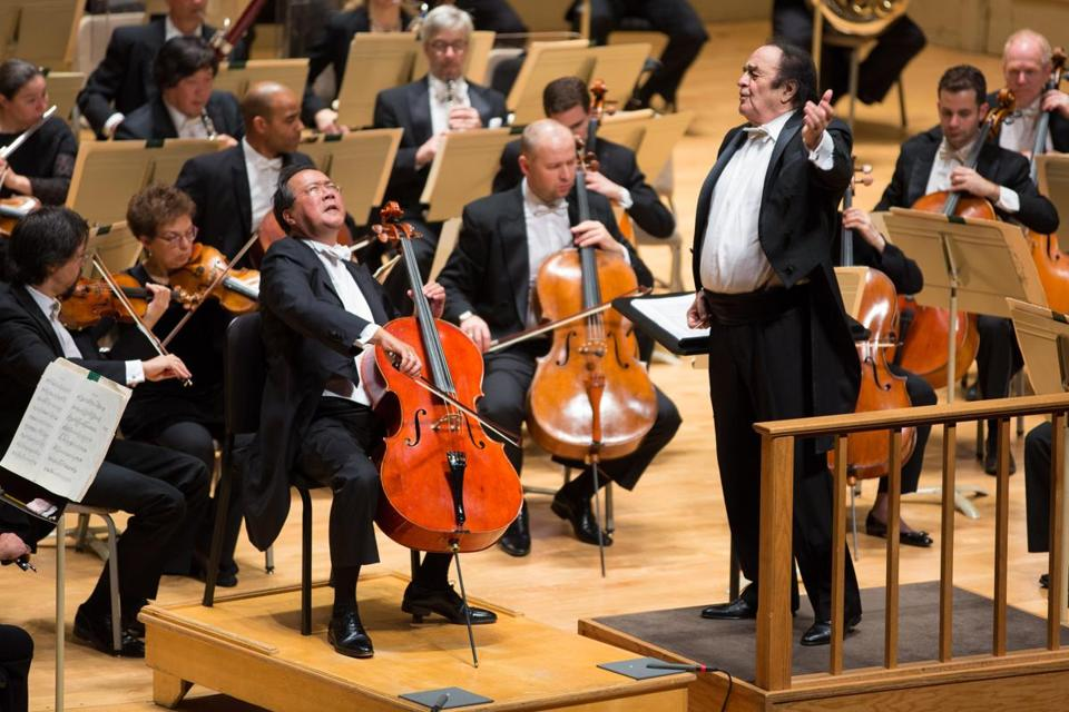 Charles Dutoit leading the BSO and Yo-Yo Ma in Elgar's Cello Concerto.