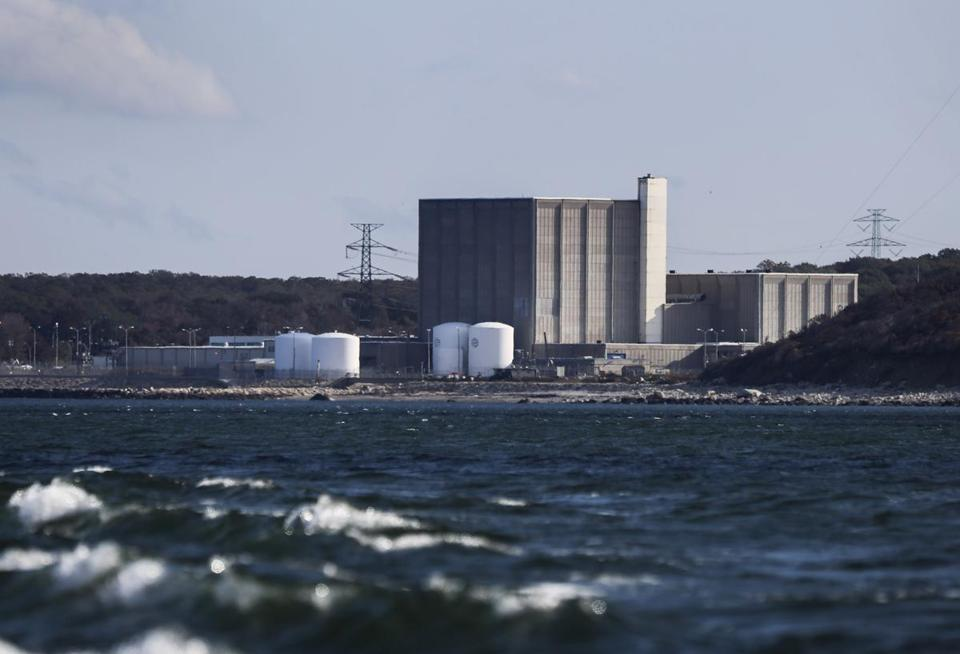 The Pilgrim Nuclear Power Plant as seen from the sea.