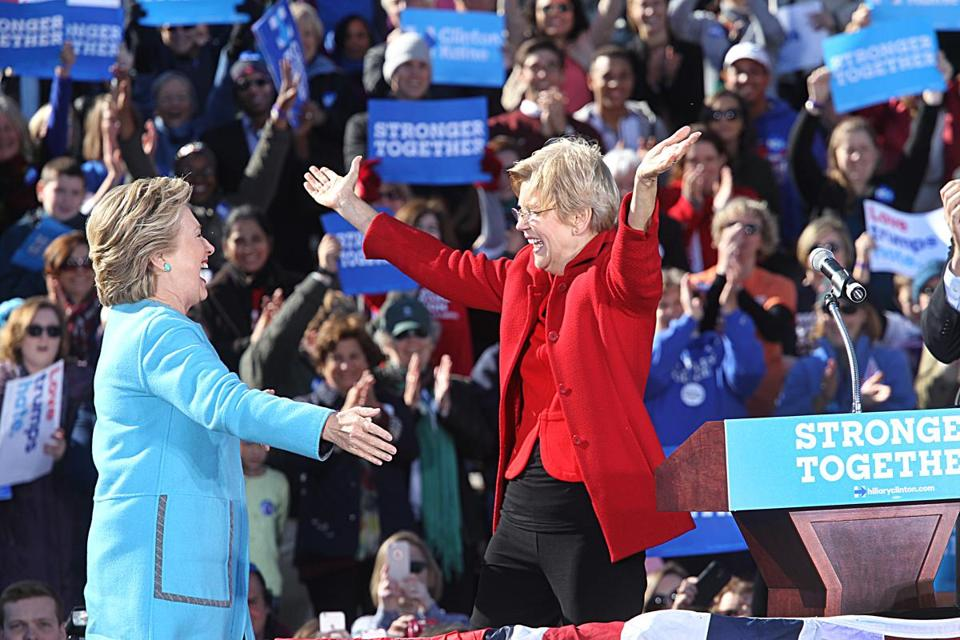 Senator Elizabeth Warren embraced Hillary Clinton at a rally at St. Anselm College in New Hampshire in October 2016.