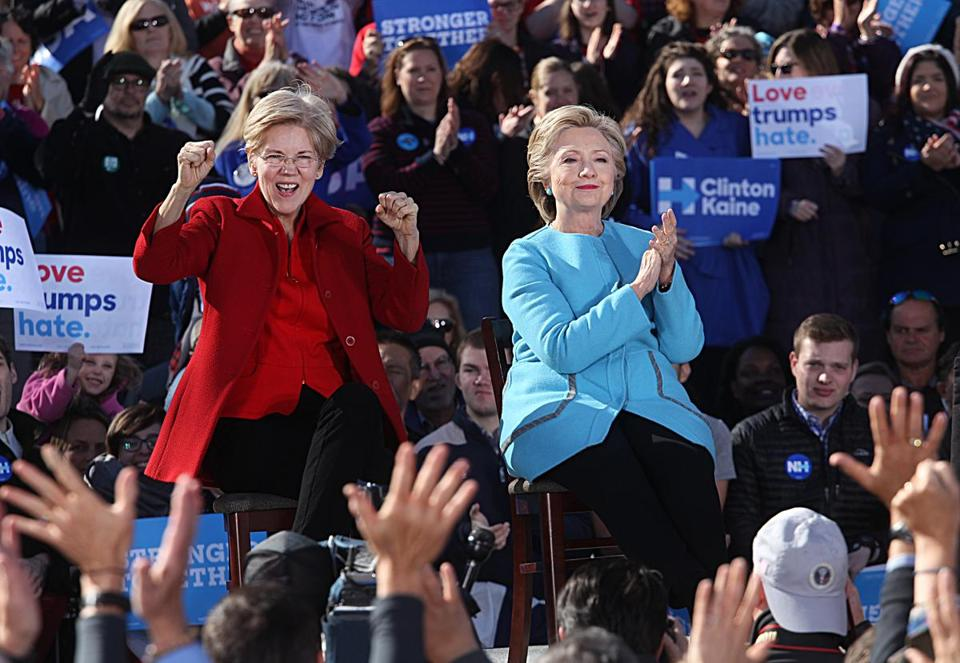 Hillary Clinton and Senator Elizabeth Warren held a rally Monday in Manchester, N.H.