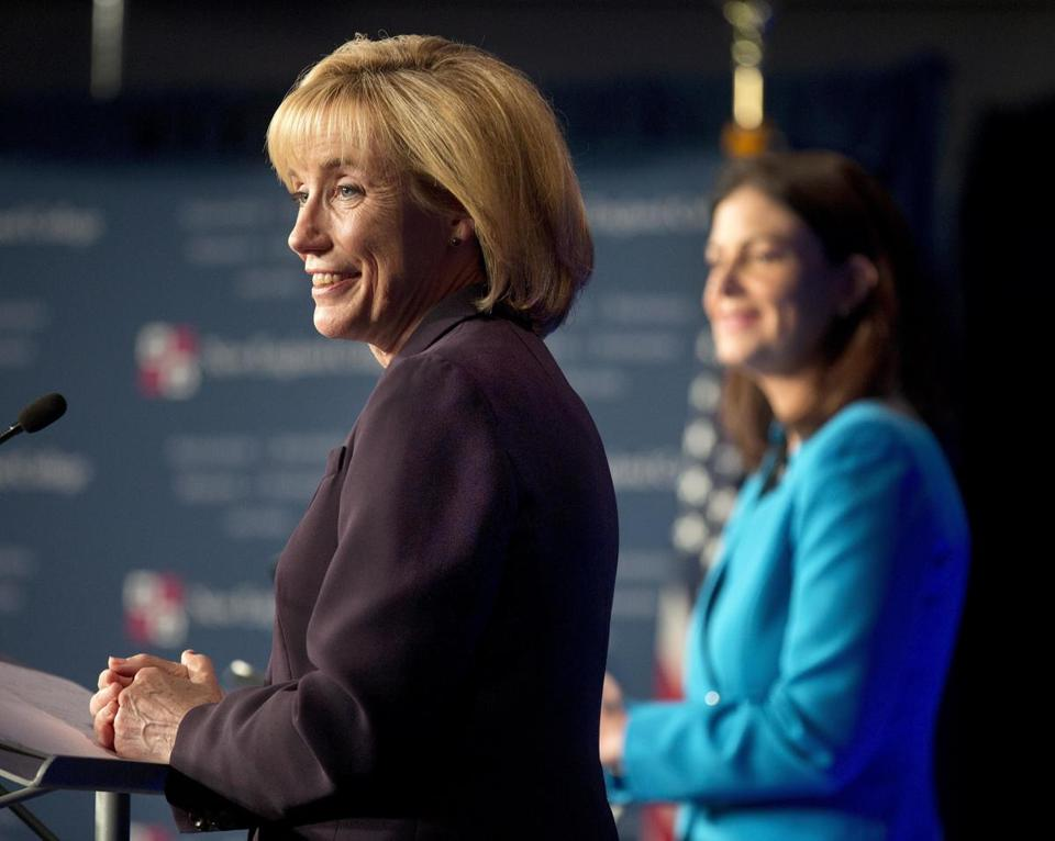 A campaign spokeswoman for incumbent Republican Senator Kelly Ayotte (right) had called on Governor Maggie Hassan earlier Sunday to return the donations.