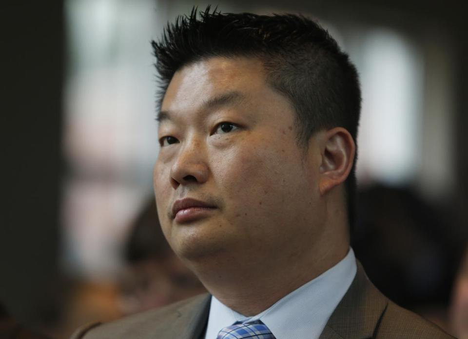 Boston, MA - 5/5/2016 - School Superintendent Tommy Chang listens to a speaker during an announcement held by Mayor Walsh to announce the record-breaking enrollment numbers for Boston summer learning programs at Berklee College of Music in Boston, MA May 5, 2016. Jessica Rinaldi/Globe Staff Topic: Reporter: