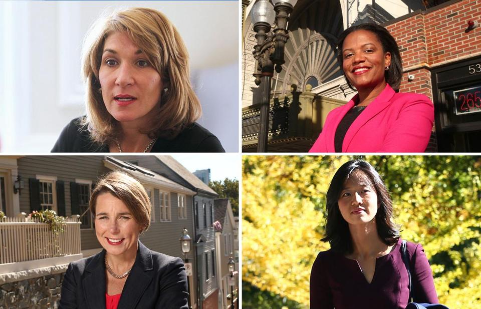 Clockwise from top left: Karyn Polito, Linda Dorcena Forry, Michelle Wu, and Maura Healey.