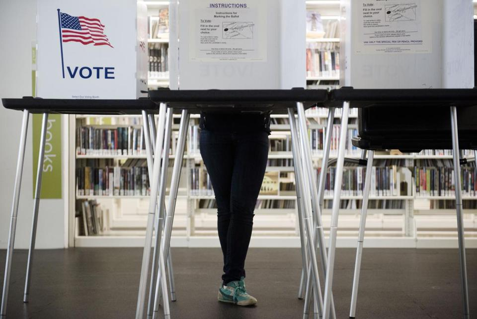 A voter cast their ballot earlier this month in Madison, Wis.