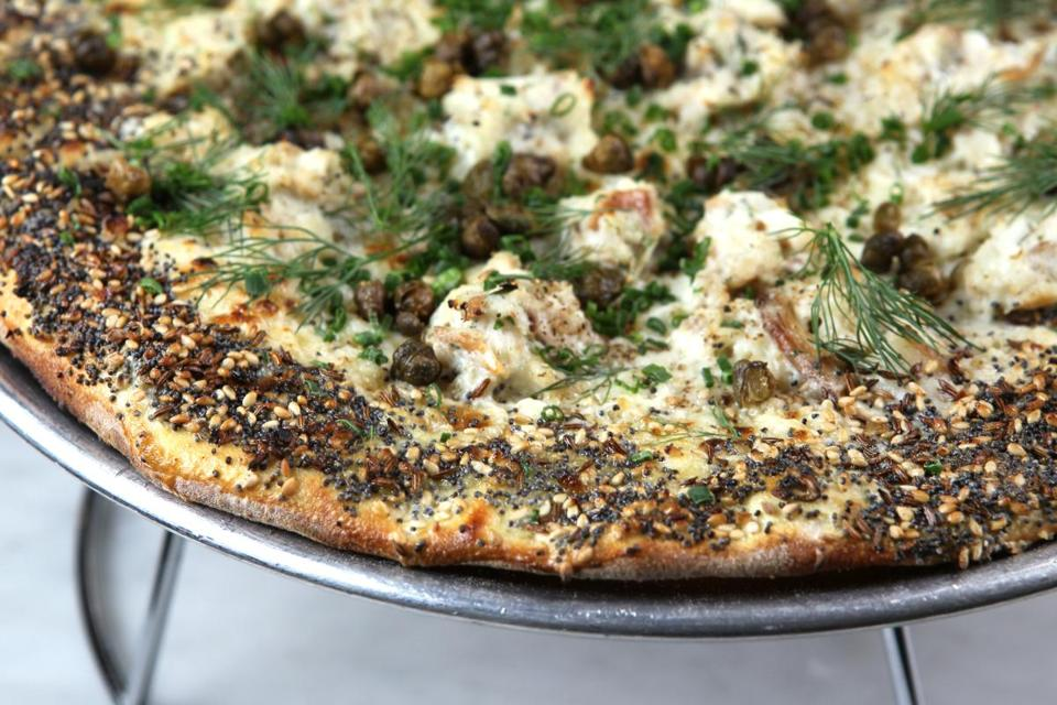 "Whitefish pizza with an ""everything"" seeded crust at Waypoint."