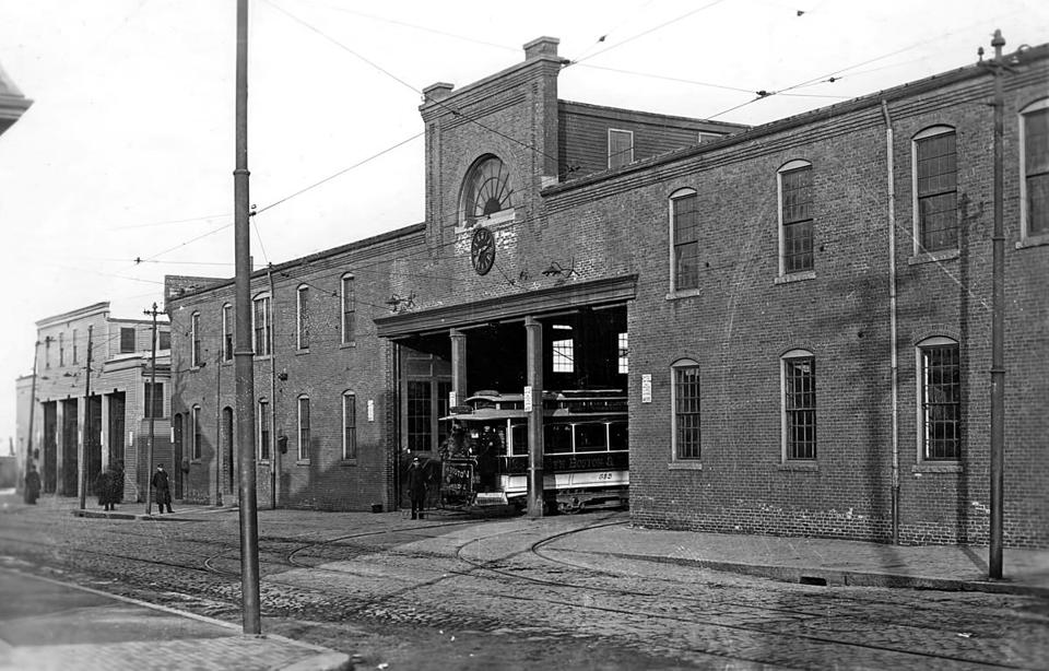 Car 393 began its journey from the P Street car barn near City Point in South Boston. This 1893 photo shows an early electric streetcar leaving the facility.