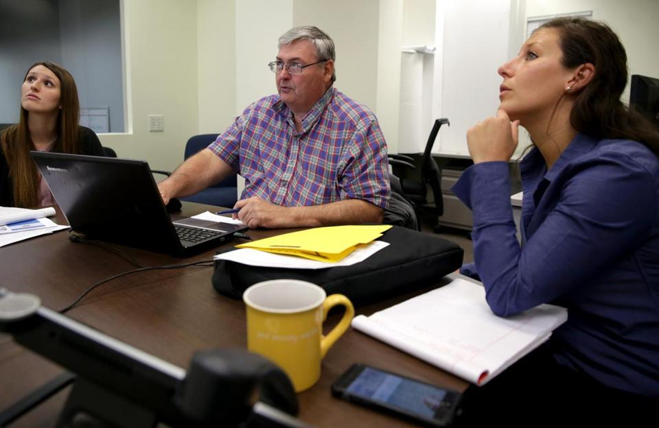 Watertown Ma 10-26-2016 A meeting of the Estimating Group is where the process begins. The meeting between Cannistraro & Harrington was with left to right Michelle Godlewski (cq) Cort Naegelin (cq) and Kourtney Mierzejewski (cq) right at Cannistraro Headquarters in Watertown. Boston Globe Staff/Photographer Jonathan Wiggs