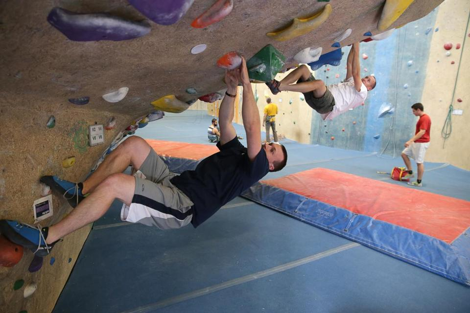 Watertown Ma 10-26-2016 2016 J.C. Cannistraro employee Kurt Noelte (cq) at the Centraal Rock Gym in Watertown. He was on his lunch break and spent some time on the rock walls. Boston Globe Staff/Photographer Jonathan Wiggs