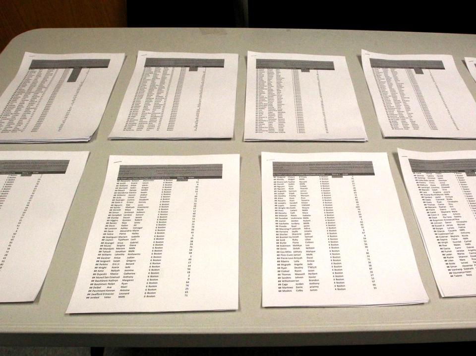 File photo of printout of lottery results for student admission to the Neighborhood House Charter School in Dorchester.