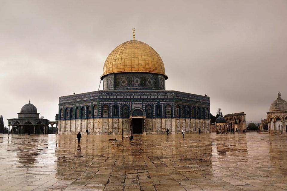JERUSALEM, ISRAEL - NOVEMBER 27: A man walks towards the Dome of the Rock at the Al-Aqsa mosque compound in the Old City on November 27, 2014 in Jerusalem, Israel. The Dome of the Rock is the fought over holy site between Jews and Muslims and is the prime attraction of the Haram es-Sharif (Noble Sanctuary) or Temple Mount, which is also sacred to Jews. Nine Israelis have been killed in a series of stabbings, shootings and hit-and-run attacks in Jerusalem over the past month, unsettling the ancient city of Jerusalem where Jews, Christians and Muslims have lived side by side for thousands of years. The tension and violence on the streets of the city is threatening to further isolate communities and to encourage extremist politicians to exploit the situation. (Photo by Spencer Platt/Getty Images)