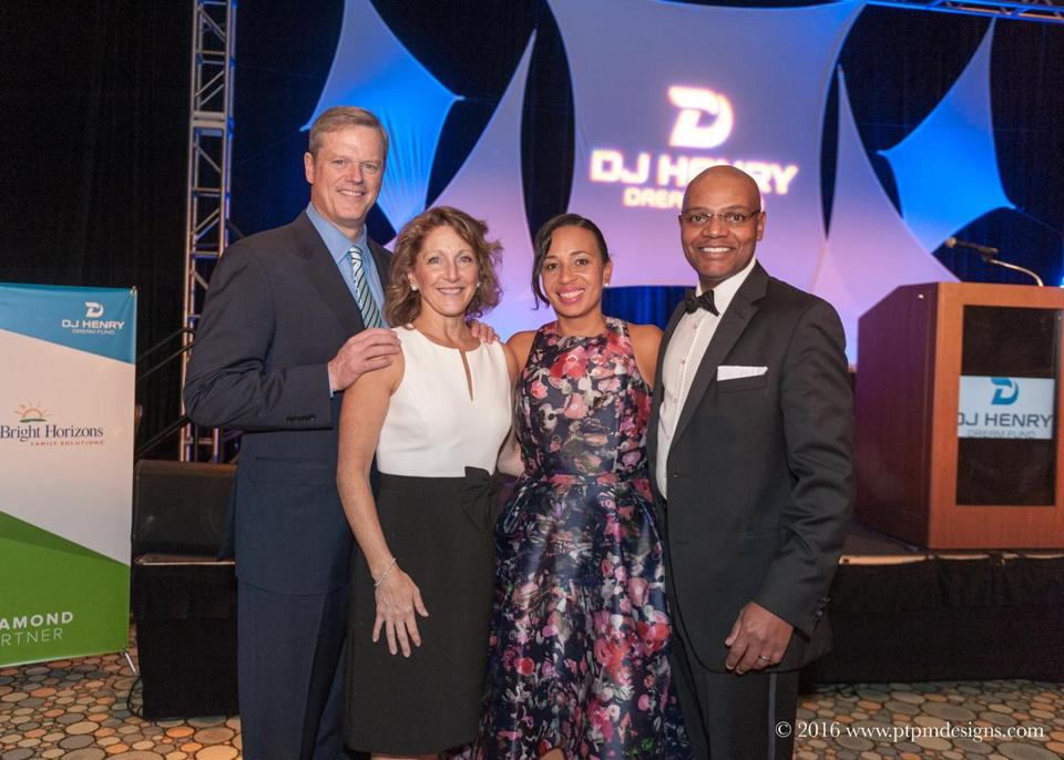 Governor Charlie Baker and wife Lauren with Angella and Dan Henry at the gala.