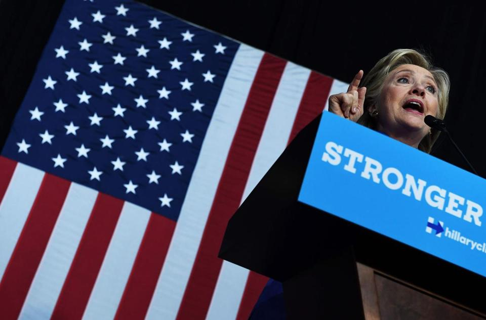 Hillary Clinton spoke Sunday at a rally in Wilton Manors, Fla.