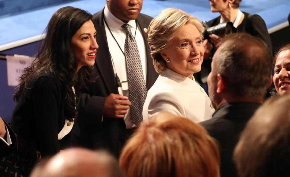 Longtime aide Huma Abedin walked with Hillary Clinton after the Oct. 19 presidential debate in Las Vegas.