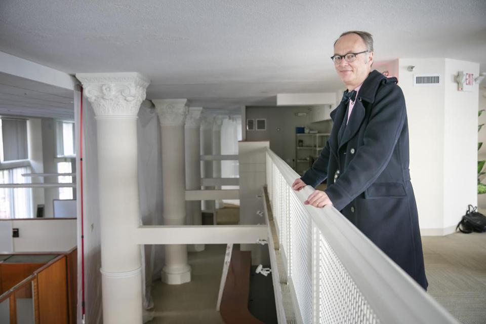 "Former America's Test Kitchen personality Christopher Kimball posed in the home of his new venture earlier this year. In a Suffolk Superior Court lawsuit, America's Test Kitchen Inc. says Kimball ""literally and conceptually ripped off"" his old company."