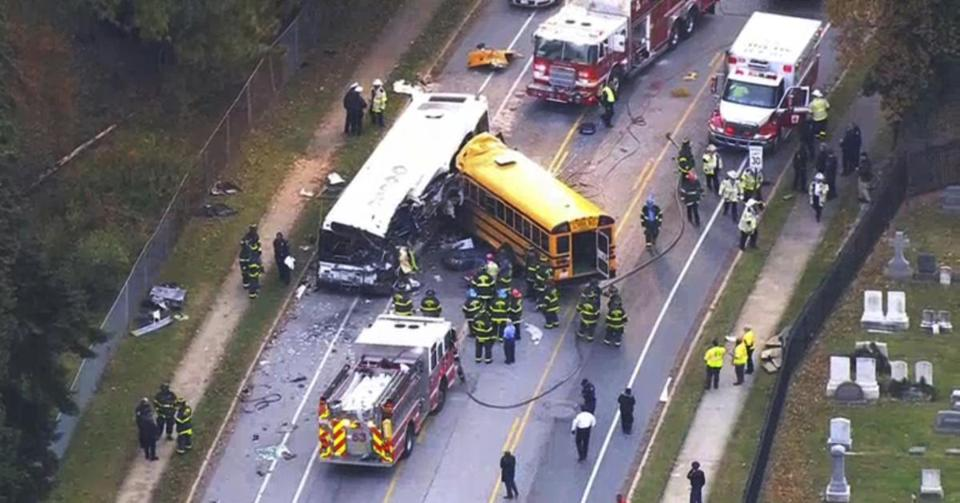 Image result for Six killed in Baltimore after school bus and commuter bus collide
