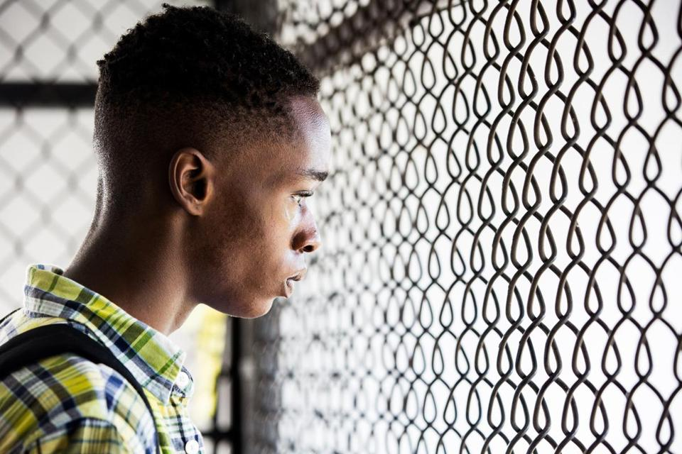 "Ashton Sanders as high school-age Chiron in ""Moonlight."""
