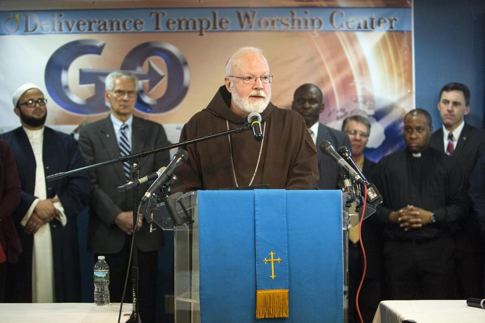 Cardinal Sean O'Malley spoke against Question 4 with other political, religious, and civic leaders Tuesday at Dorchester's Deliverance  Temple Worship Center.