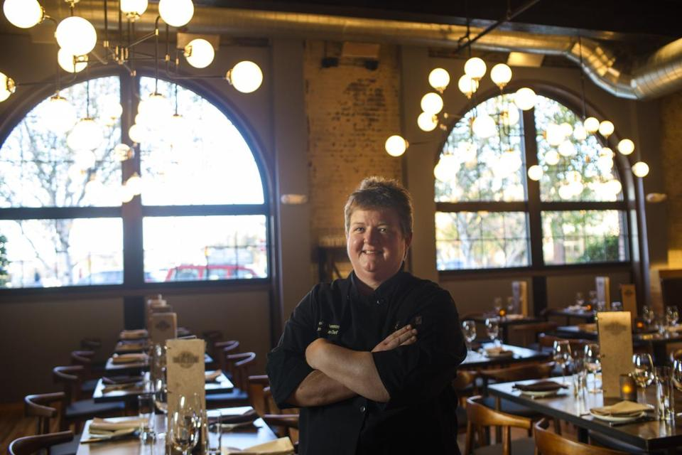 Chelsea, MA - 11/1/2016 - Chef Shelly Demmon stands in the dining room at the Chelsea Station Restaurant Bar and Lounge in Chelsea, MA, November 1, 2016. (Keith Bedford/Globe Staff) Topic: Reporter: Stephanie Schorow