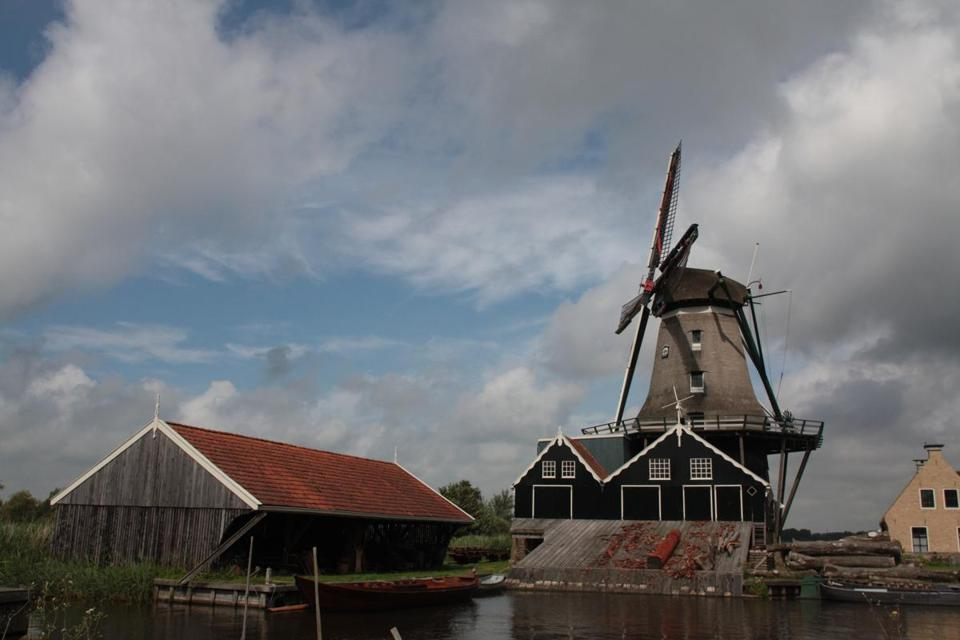 The windmill-operated sawmill, De Rat, in the town of IJlst, one of the stops along the Elfstedenroute, or 11-Cities Route, a bicycle tour in the Dutch province of Friesland.