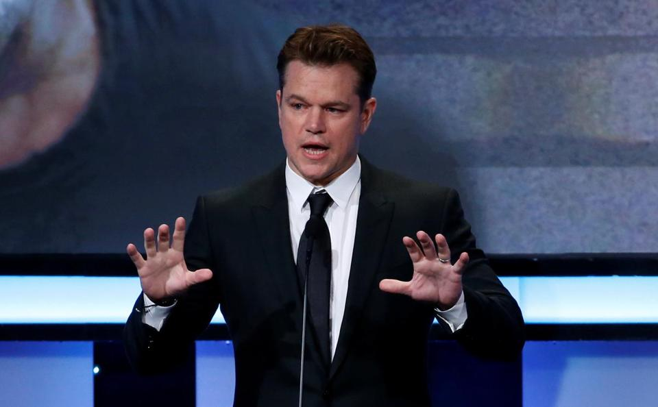 "Matt Damon (pictured speaking at an award ceremony last month in Beverly Hills, Calif.) is the narrator of ""Backpack Full of Cash."""