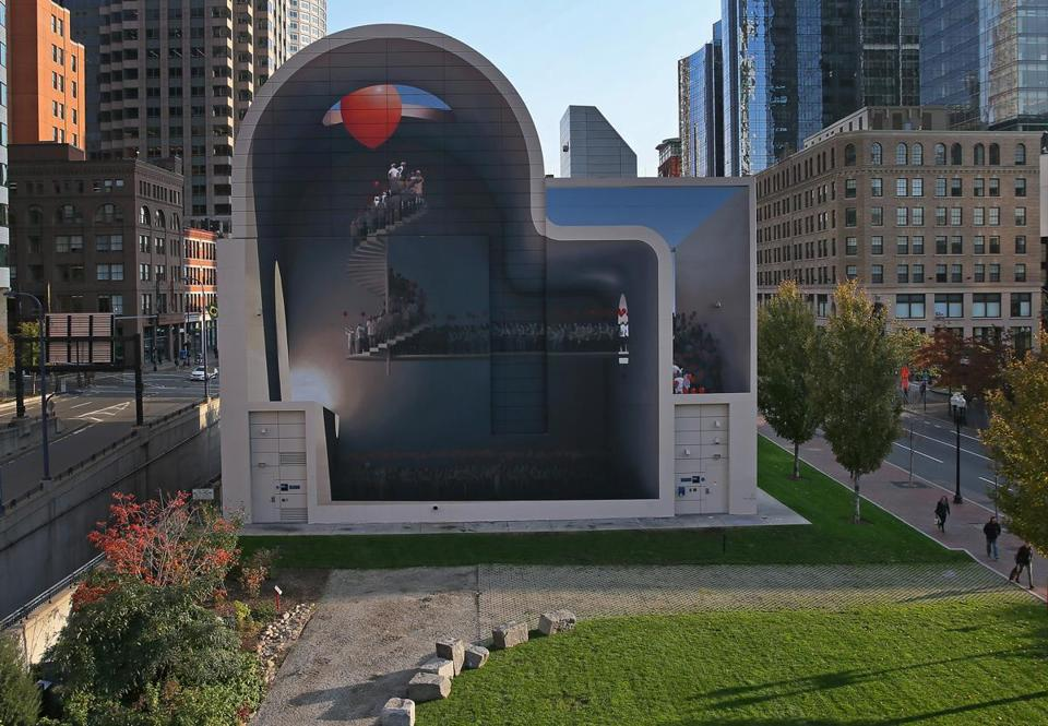 "Mehdi Ghadyanloo's mural ""Spaces of Hope"" on the Rose Fitzgerald Kennedy Greenway."